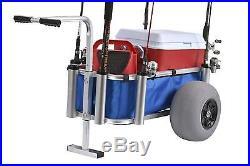 Muscle Marine Beach Cart Surf Fishing Rod Cart On Wheels Pier Deck Rod Holder