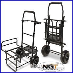 New Ngt Dynamic Fishing Trolley Carp Coarse Folds Flat Twin Wheel Large Base