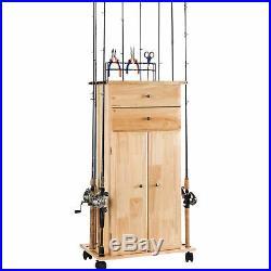 Organized Fishing Wood 18-Rod Pole Holder/ Utility Box Cabinet Storage on Wheels