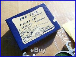 Original 1940' s 1950' s Vintage nos Accessory Fishing rod carrier tote auto box