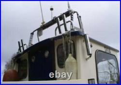PAIR OF 2-TUBE STAINLESS STEEL 316 BOAT FISHING ROD HOLDERS (40mm tube)