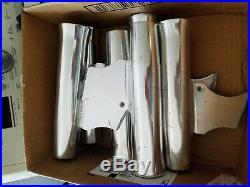Polished aluminum rod holders