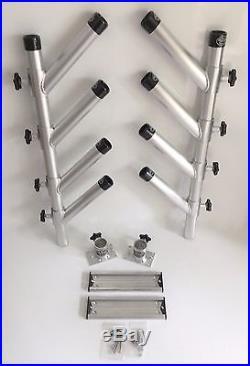 Quad Adjustable Rod Holder Aluminum Tree High Seas Gear Set with bases & tracks