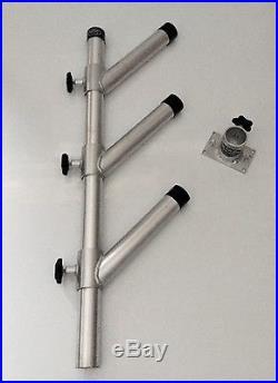 Rod Holder Adjustable Tree Triple Unit with Base. Aluminum Fishing Holders. New