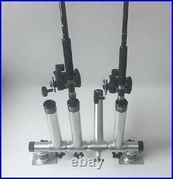 Rod Holder Quad Adjustable Horizontal with Dual Bases. Aluminum fishing holders