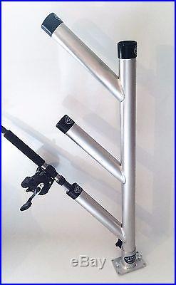 Rod Holder Tree Triple Fixed Unit Aluminum Fishing Rod Holders with Base. New