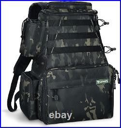 Rodeel Fishing Tackle Backpack 2 Fishing Rod Holders with 4 Tackle Boxes, Large