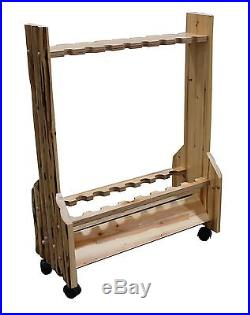 Rolling Rod Rack Fishing Pole Holder Storage Display Handcrafted Solid Pine Room