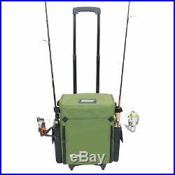 Rolling Tackle Box Green Waterproof Retractable Rod Holders Fishing Tackle Bag