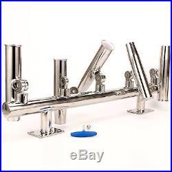 SE New styel 5 Tube Adjustable Stainless Wall/Top Mounted Rod Holder -9995S -BM