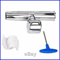 Set of 4 Stainless Clamp Adjustable Fishing Rod Holder for Rail 1-1/2 to 1-3/4