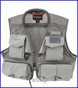 Simms Headwaters Pro Mesh Fishing Vest 20 Pockets & Rod Holder Gray FREE SHIP