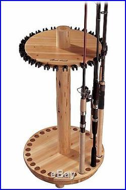 Spinning Fishing Rod Rack Holder Pole Wood Stand Corner Accessories Storage