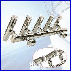 Stainless Steel Boat 5 Link Tube Mount Fishing Rod Holder Pole for Marine Yacht