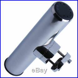 Stainless Steel Fishing Rod Holder Clamp-on for 1 to 1-1/4 Rails For Boat