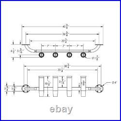 TACO 9-3/4 L 1-7/8 I. D. Transom Mount 4-Rod Holder