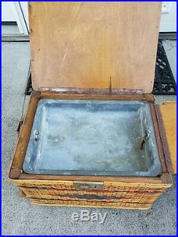 Vintage Wicker Angler's Fishing Creel Rod Holder Tacklebox Cleaning Station
