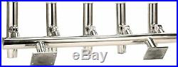 YaeMarine 5 Tubes Adjustable Stainless Rod Holders Wall Mounted/Top Mounted Rack